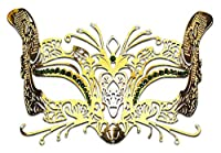 Luxury Mask Women's Halloween Laser Cut Metal Venetian Cat Mask Prom Mardi Gras from Burlesque-Boutique