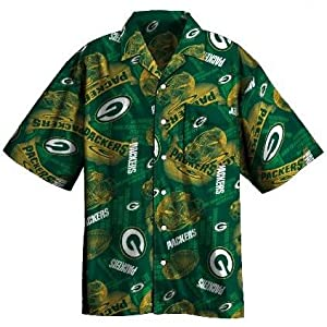 Green Bay Packers Tailgate Party Short Sleeve Button Down Shirt by Majestic