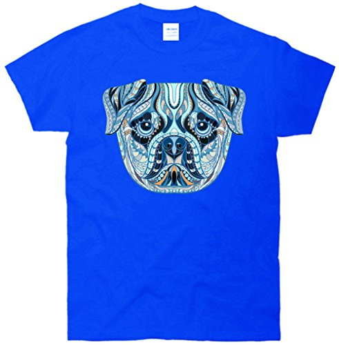 Cool Ethnic Trippy Pug Dog Face T-Shirt Blue Large