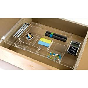 """Acrylic Drawer Organizer Expandable Clear 1 38""""H x 12"""