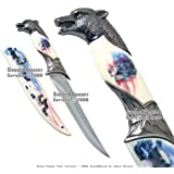 American Flag Wolf Fantasy Dagger Bowie Knife w/ Sheath