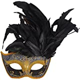 Coxeer Halloween Masquerade Feathers Beauty Princess Lace Half Face Mask