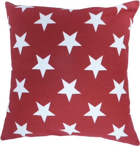 """Decorative Printed Star Floral Throw Pillow Cover 18"""" Burgundy"""