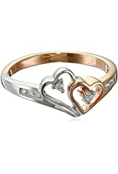14k Two-Tone Rose and White Gold Diamond Heart Ring (1/10 cttw, H-I Color, I2-I3 Clarity)