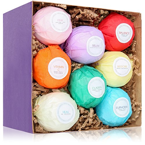 8 Bath Bombs Gift Set - USA Made - Bath Bombs Kit - Ultra Lush Spa Fizzies - Best Gift Ideas - Enjoyable than Bath Beads & other Bath Body Products - Add to bath bubbles - Relaxation Kit Bath Basket Bath Beauty Set