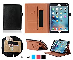 Bovon PU Leather Stand Case Cover with Auto Wake & Sleep Feature, Elastic Strap, Card Slots, Note Holder for Apple iPad Pro - Black