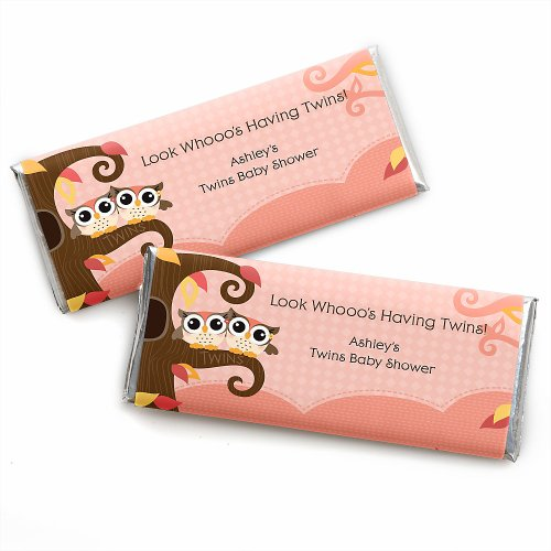 Owl Girl - Look Whooo'S Having Twins - Personalized Baby Shower Candy Bar Wrapper Favors front-116533