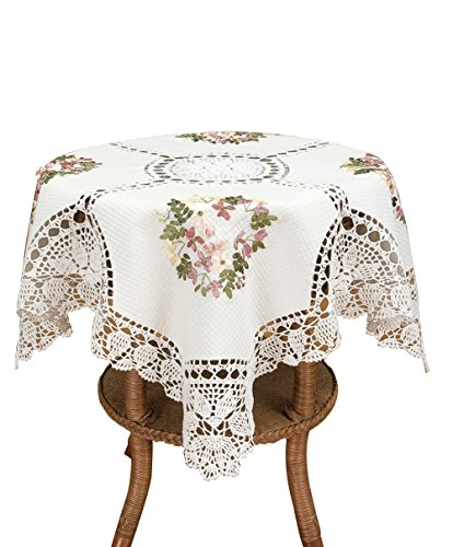 Handmade White Cotton Linen Tablecloth Ribbon Embroidered Crochet Square 36 by 36 Inch