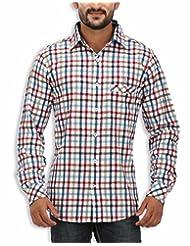 SPEAK Men's Red Checkered Twill Cotton Casual Shirt