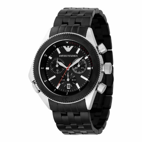 Emporio Armani Quartz, Black Dial with Black Link Bracelet - Men's Watch AR0547