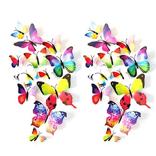 eizur 24pcs stickers muraux de papillons 3d mural autocollants bricolage aimant papillon. Black Bedroom Furniture Sets. Home Design Ideas