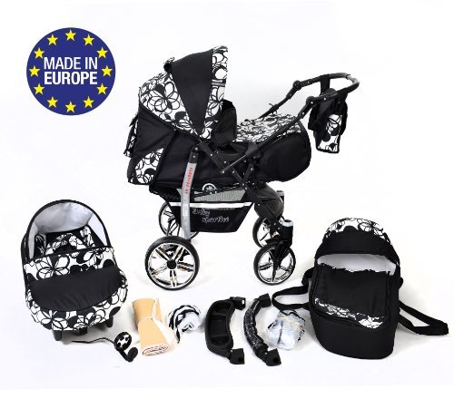 3-in-1 Travel System incl. Baby Pram with Swivel Wheels, Car Seat, Pushchair & Accessories, Black & Flowers