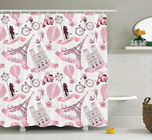 Ambesonne Eiffel Tower Decor Collection, Paris Symbols Travel in Paris Honeymoon Flowers Romance Hot Air Balloon and Bike Image, Polyester Fabric Bathroom Shower Curtain Set with Hooks, Pink (Balloon Shower Curtain compare prices)