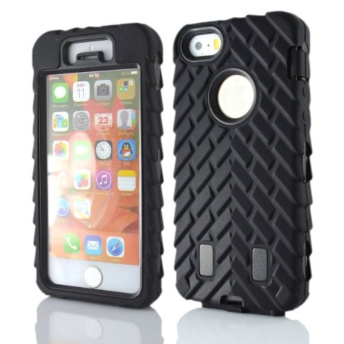Images for Meaci® Iphone 5 5s Case 3in1 Tire Stripe Combo Hybrid Defender High Impact Body Armorbox Hard Pc&silicone Case (black)