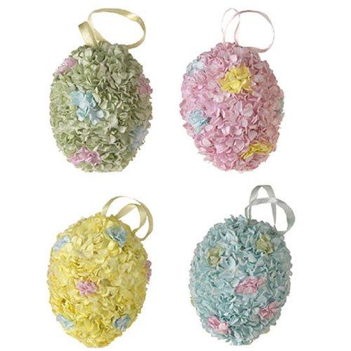 RAZ Imports - Glittering Hydrangea Easter Egg Ornaments 4.5