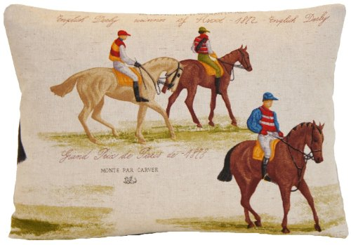 Cushion Pillow Cover Cotton Fabric Printed Jockey Winner of Ascot English Derby