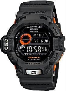 Men's Limited Edition Black Orange Plastic Resin G-Shock Riseman Tough Solar