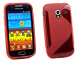 Kit Me Out UK TPU Gel Case + Screen Protector with MicroFibre Cleaning Cloth for Samsung Galaxy Ace 2 i8160 - Red S Wave Pattern