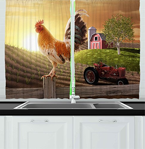 Ambesonne Kitchen Decor Collection, Farm Barn Yard Image Kitchenware and Home Decor Rooster Early Bird Natural Sunrise, Window Treatments for Kitchen Curtains 2 Panels, 55X39 Inches, Light Brown Red (Kitchen Curtains With Roosters compare prices)