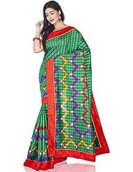 Aadarshini Women's Raw Silk Saree (110000000460, Green & Red)