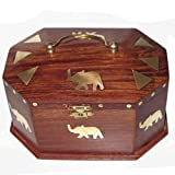 Wood Jewelry Box Brass Inlay Work Handmade Unique Giftsby DakshCraft
