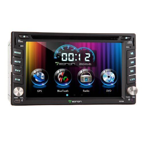 Eonon G2104U 6.2 Inch Double 2 Din Car Dvd Player With Gps System, Support Bluetooth, Ipod Input, Steering Wheel Control For Ad System, Gps Dual Zone, Touch Screen, Free Map For Us & Canada