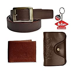 Mango People Brown Combo set of BELT,WALLET and Cardholder For with FREE GIFT LEECOOPER KEY CHAIN For Men