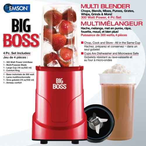 E.Mishan & Sons Inc. Big Boss 8866 4-Piece Personal Countertop Blender Mixing System 300-watt Red at Sears.com