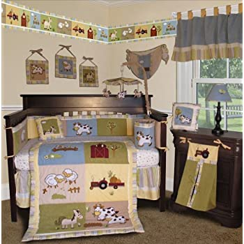 Awesome SISI Baby Boy Boutique On the Farm PCS Crib Bedding