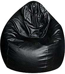 Jupiter Leatherette XXXL Bean Bag Cover (without Filling) - Black