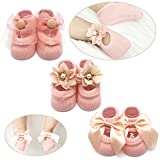 Elesa Miracle Non-skid Baby Girl Toddler Mary Jane Socks, Newborn Baby Photography Props Anti Slip Flower Pearl Bownote Socks Value Set in Gift Box (M for 6-12 Months, Pink)