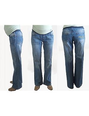 Mothers En Vogue Designer UnderBelly low-rise Maternity Bootleg Jeans