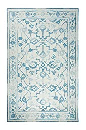 Area Rug, Ivory/Light Blue Vintage Distressed Wool Rugs Carpet, 3-Foot 3-Inch X 5-Foot 3-Inch