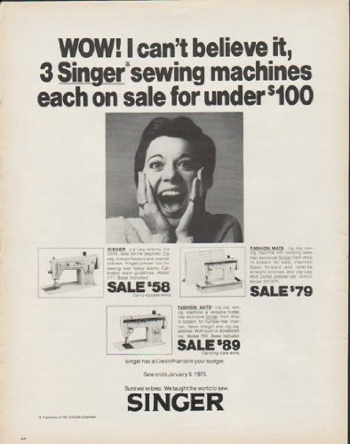 """1972 Singer Sewing Machine Ad """"Wow"""""""