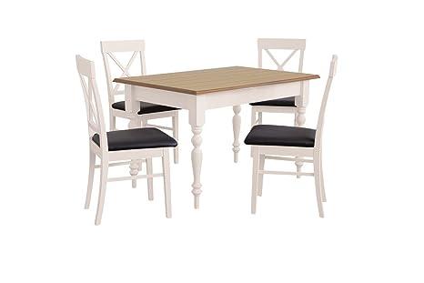 Esstisch mit 4 stuhlen: 110x70 oder 120x80 Eiche und weiß, Esszimmertisch Tischgruppe Essgruppe Holzgestellt - DEVON (120x80 cm)