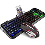 SADES gaming keyboard and mouse sets,wired keyboard and mouse with colorful lights and mouse with 4 adjustable DPI for gaming for PC/laptop/win7/win8/win10 … (Color: Colorful)