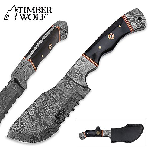 Timber Wolf Fixed Blade Hunting Cleaver Knife Micarta & Damascus