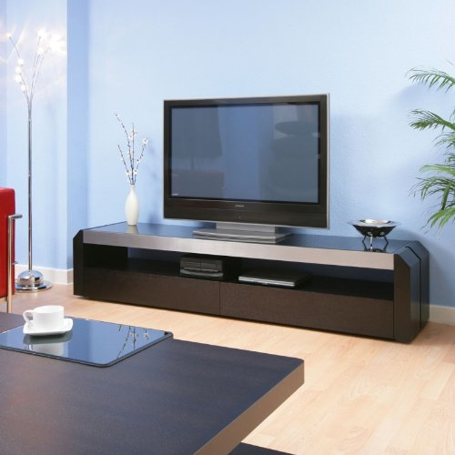 TV/Television Cabinet/Cabinets/Entertainment Unit Black Glass Top 701F