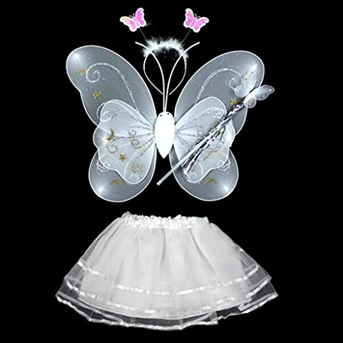 White Fairy Butterfly Wings Wand Headband Dress Fancy Cosplay Costume Dress-up