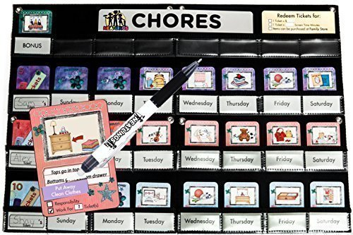 NEATLINGS Chore Chart - up to 3 kids. 76 chores! Kids will be happy & helping. You will LOVE this chore chart! One chart endless options! Reward / Responsibility (Purple, Pink, Light Blue)