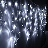 3.5M 96 LEDs Rideau de Lumière , Guirlande Lumineuse Rideau Féeriques Comme Etoilées Eclairage Décoration pour Chambre Mariage Noël Nouvel an Jardin 2 Modes de Flash...