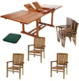 All Things Cedar TE90-24Green 7 Piece Teak Rectangle Extension Table, Expandable, Green