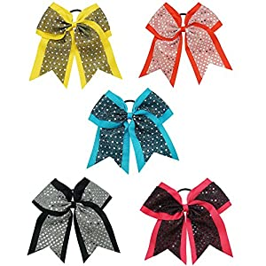 CN 5pcs Girls Sequin Cheer Bow for Cheerleader Hair Bow with Ponytail Holder