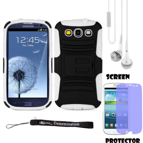Hybrid Belt Clip Holster Case For Samsung Galaxy S Iii/S3 Android Os, V4.0 (Ice Cream Sandwich) + White Crystal Clear High Quality Hd Noise Filter Handsfree Earbuds ( 3.5Mm Jack ) + Samsung Galaxy Slll (3) Clear Screen Protector + An Ebigvalue Tm Determin