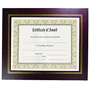 """8.5"""" x 11"""" Leather Grain Certificate Frame Two Pack, Burgundy"""
