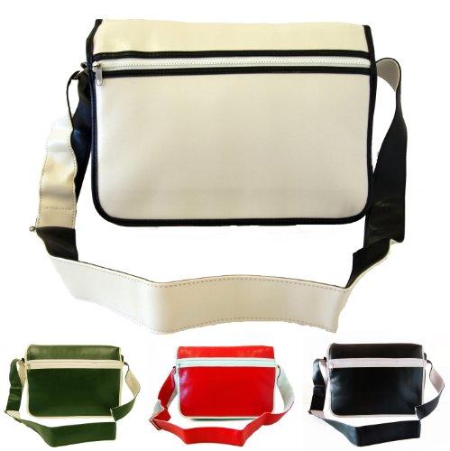 Brand New Mens Womens Girls Boys College School Messenger Satchel Flapover Shoulder Bag (Black/White/Red/Green)