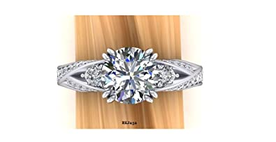 Gorgeous Solitaire 2.42ct Round Brilliant Cut White Simulated Diamond 925 Sterling Silver Engagement Wedding Bridal Anniversary Ring,All Size available