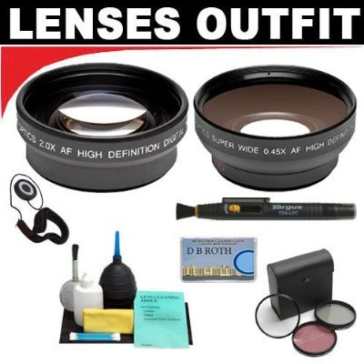 2X Digital Telephoto Professional Series Lens + 0.5X Digital Wide Angle Macro Professional Series Lens + 3 Piece Filter Kit + 6-Piece Deluxe Cleaning Kit + Lenspen + Lens Cap Keeper + Db Roth Micro Fiber Cloth For The Sony Hvr-Z1U, Z5U, Z7U, Z7E, V1U, Hdr