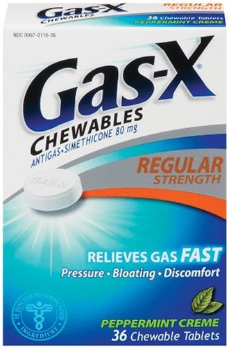 Gas-X Anti-Gas Chewable Tablets, Peppermint Creme, 36-Count Boxes (Pack of 3)