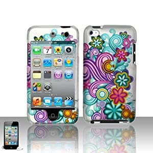 Purple Blue Wave Colorful Rainbow Flower 2d Hard Snap-on Rubber Texture Skin Case Cover Accessory for Ipod Touch 4th Generation 4g 4 8gb 32gb 64gb New